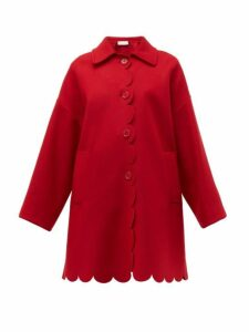 Redvalentino - Scalloped Single Breasted Wool Blend Coat - Womens - Red