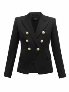 Balmain - Double Breasted Wool Twill Blazer - Womens - Black