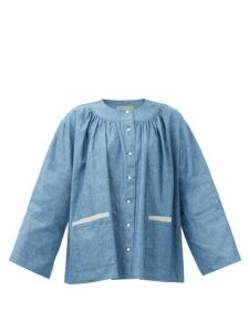 Dolce & Gabbana - Ruched Geranium Print Silk Blend Midi Dress - Womens - Red Multi