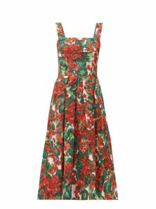 Dolce & Gabbana - Geranium Print Cloqué Midi Dress - Womens - Red Multi