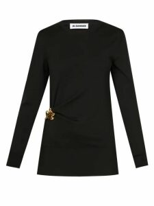 Ganni - Ruffle Trim Gingham Print Mesh Wrap Skirt - Womens - Black White