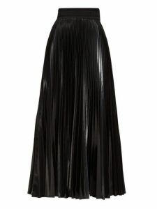 Fendi - High Shine Pleated Midi Skirt - Womens - Black
