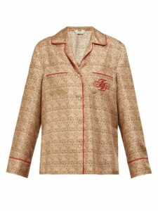 Fendi - Ff Logo Embroidered Gate Print Silk Shirt - Womens - Beige Multi