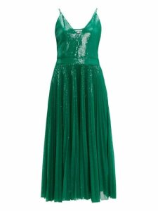 Msgm - Pleated Sequinned Dress - Womens - Green