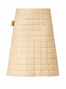 Bottega Veneta - High Rise Quilted Leather Skirt - Womens - Ivory