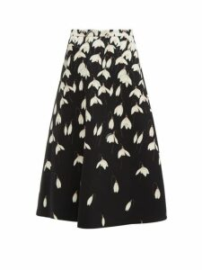Valentino - Snowdrop Print Wool Blend Crepe Midi Skirt - Womens - Black Multi