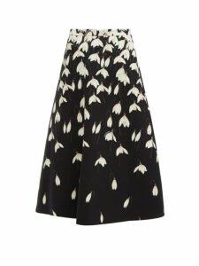 Valentino - Snowdrop Print Wool Blend Crepe Midi Skirt - Womens - Black Multi