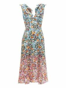 Saloni - Holly Floral Print Silk Crepe Dress - Womens - Blue Multi