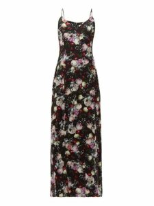 Erdem - Aspen Clarence Floral Print Satin Slip Dress - Womens - Black Multi
