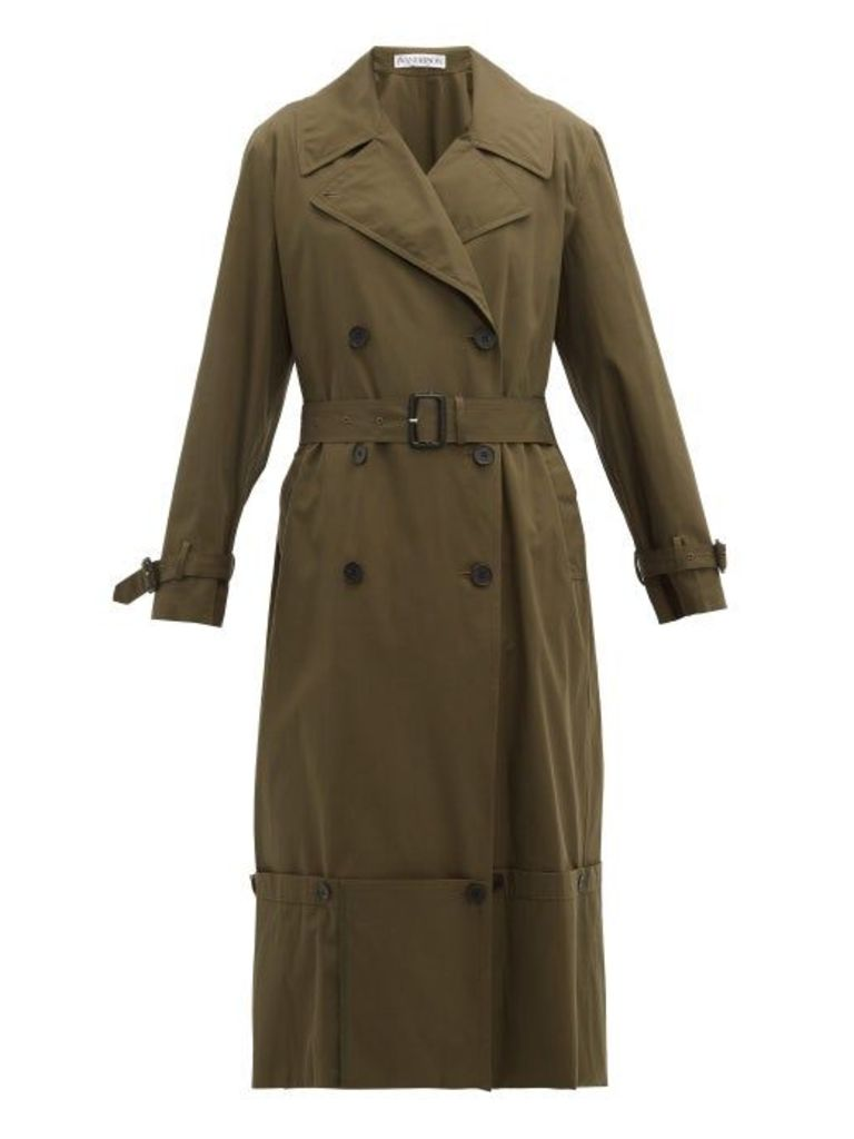 Jw Anderson - Extendable Hem Cotton Trench Coat - Womens - Green