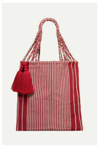 Nannacay - + Net Sustain Bianca Tasseled Striped Crocheted Cotton-blend Tote - Red