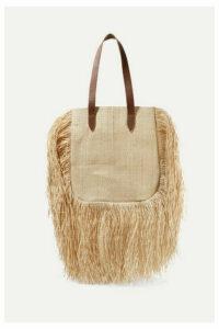Nannacay - + Net Sustain Aurora Leather-trimmed Fringed Woven Raffia Tote - Sand