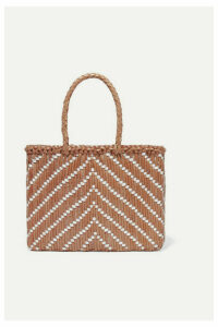 Dragon Diffusion - Kumari Small Two-tone Woven Leather Tote - Tan