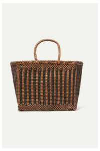 Dragon Diffusion - Cannage Small Two-tone Woven Leather Tote - Tan
