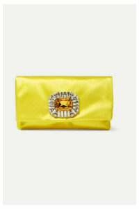 Jimmy Choo - Tatiania Crystal-embellished Satin Clutch - Yellow