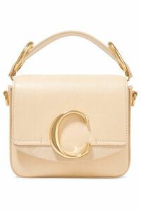 Chloé - Chloé C Mini Suede-trimmed Leather Shoulder Bag - Cream