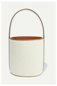 STAUD - Bissett Leather-trimmed Canvas Bucket Bag - Cream