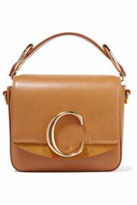 Chloé - Chloé C Mini Suede-trimmed Leather Shoulder Bag - Camel
