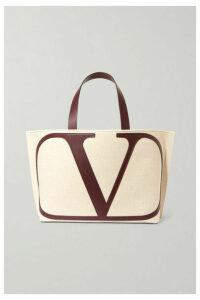 Valentino - Valentino Garavani Vlogo Escape Large Leather-trimmed Canvas Tote - Beige