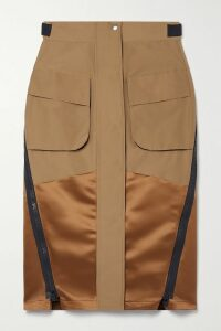 Chloé - Tess Small Color-block Smooth And Lizard-effect Leather Shoulder Bag - Brown