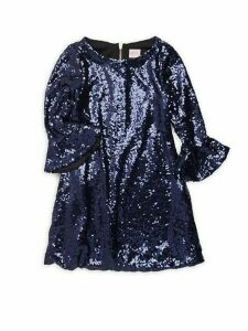 Girl's Tina Bell Sleeve Sequin Dress