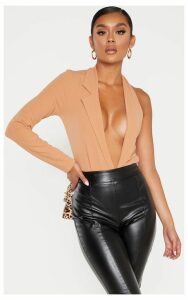 Camel Cut Out One Shoulder Blazer Bodysuit, Camel