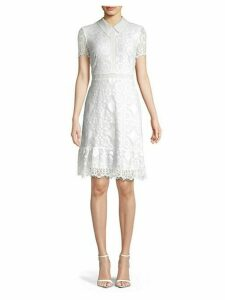 Short-Sleeve Lace Collared Dress
