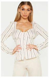 Tall Stone Stripe Button Detail Sweetheart Blouse, White