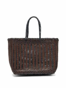 Dragon Diffusion - Cannage Woven Leather Tote Bag - Womens - Brown Navy