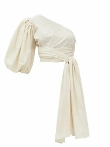 Chloé - The C Leather And Suede Shoulder Bag - Womens - Light Blue