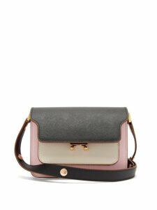 Marni - Trunk Mini Saffiano Leather Cross Body Bag - Womens - Pink Multi