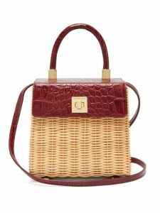 Sparrows Weave - The Classic Wicker And Leather Top Handle Bag - Womens - Burgundy