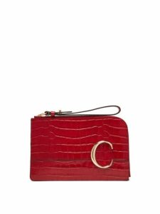 Chloé - The C Crocodile Effect Leather Pouch - Womens - Red