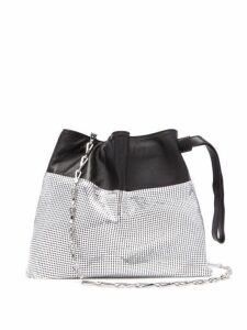 Paco Rabanne - Drawstring Chain Mesh And Leather Pouch - Womens - Silver Multi