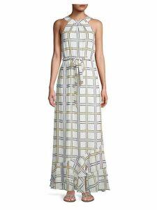 Self-Tie Grid-Print Maxi Dress