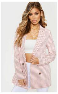 Rose Gingham Oversized Boyfriend Woven Blazer, Pink