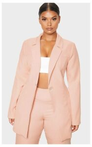 Plus Nude Shell Button Blazer Longline Blazer, Pink