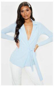 Pastel Blue Belted Blazer, Blue