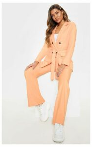 Peach Belted Longline Woven Blazer, Orange