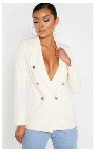 Cream Double Breasted Military Style Woven Blazer, White