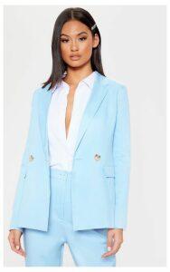 Baby Blue Boyfriend Button Front Woven Blazer, Blue