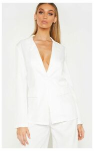 Tall White Oversized Woven Suit Blazer, White