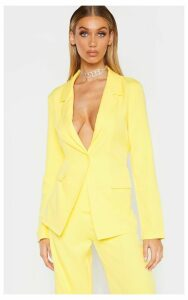 Tall Lemon Oversized Woven Suit Blazer, Yellow