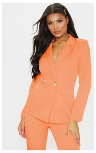 Peach Boyfriend Styled Woven Blazer, Orange