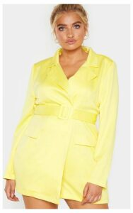 Plus Yellow Pocket Detail Blazer Playsuit, Chartreuse