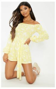 Yellow Floral Ditsy Print Bardot Playsuit, Yellow