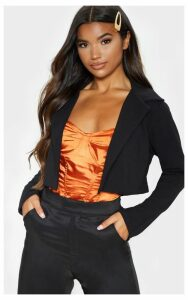 Black Cropped Suit Blazer, Black