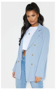 Blue Shoulder Padded Woven Blazer, Blue