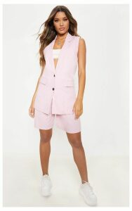 Pink Checked Oversized Sleeveless Woven Blazer, Pink