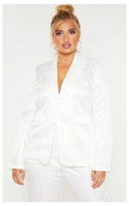 Plus White Tailored Satin Blazer, White